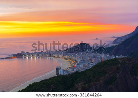 Sunset view of Copacabana beach in Rio de Janeiro. Brazil - stock photo