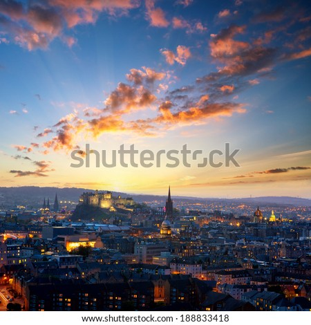 Sunset view of Edinburgh from Holyrood Park, Scotland, UK - stock photo