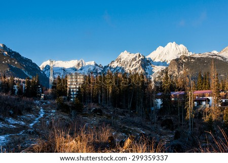 Sunset view of higher Tatra National Park in Strbske Pleso, Slovakia