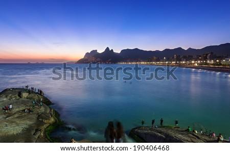 Sunset view of Ipanema and Leblon in Rio de Janeiro, Brazil - stock photo
