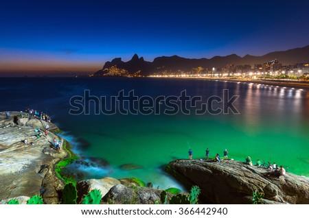 Sunset view of Ipanema in Rio de Janeiro, Brazil - stock photo