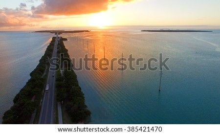 Sunset view of Keys Bridge in Islamorada, Florida. - stock photo