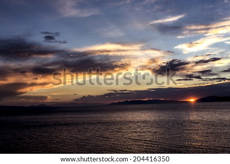 Sunset view of Lake Sevan in Armenia