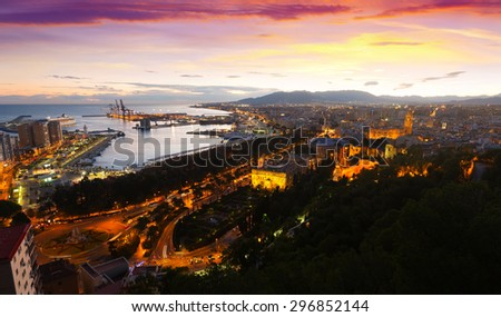 Sunset view of Malaga with Port  from castle.   Spain - stock photo