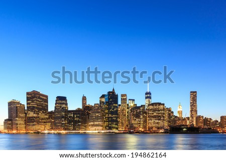 Sunset view of Manhattan, New York City. USA. - stock photo