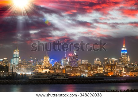 Sunset view of New York Skyline, USA.