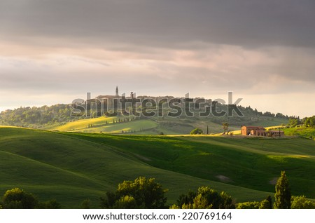 sunset view of Pienza, province of Siena, Val d'Orcia in Tuscany, Italy - stock photo