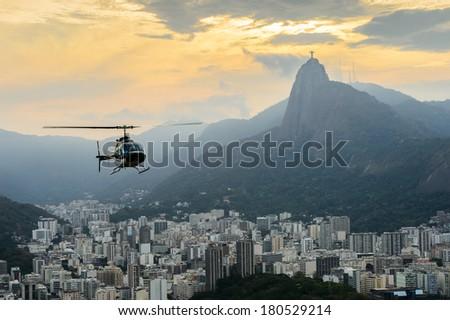 Sunset view of Rio de Janairo, Brazil - stock photo