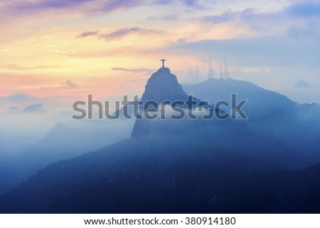 Sunset view of Rio de Janairo, Brazil - stock photo