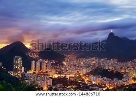 Sunset View of Rio de Janeiro, Brazil - stock photo