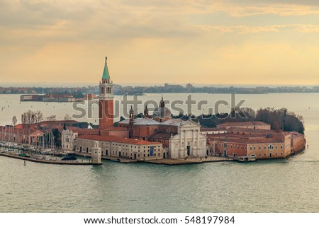 Sunset view of San Giorgio Maggiore,16th-century Benedictine church on the island of the same name in Venice, northern Italy, designed by Andrea Palladio