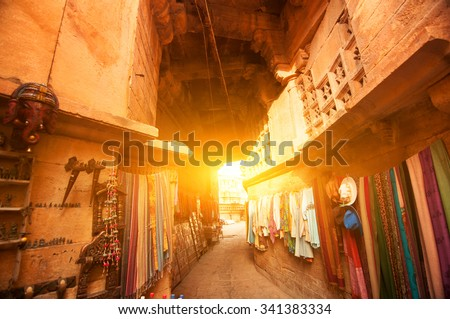 Sunset view of shopping street in the fort of Jaisalmer, Rajasthan, India.  - stock photo