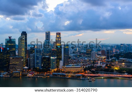 sunset view of Singapore downtown from above - stock photo