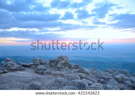 Sunset view of the knob stone ground, rock split up, rock break, channel