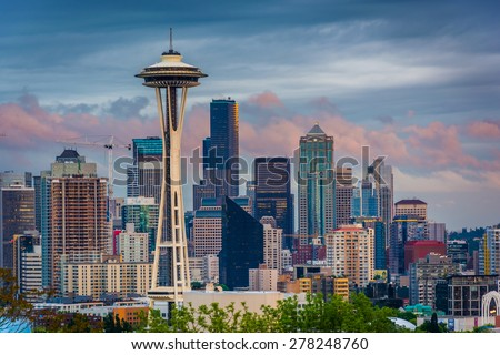 Sunset view of the Seattle skyline from Kerry Park, in Seattle, Washington. - stock photo