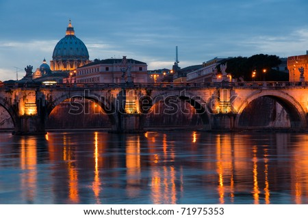 Sunset view of the Vatican with Saint Peter's Basilica and Sant'Angelo's Bridge (Rome, Italy) - stock photo