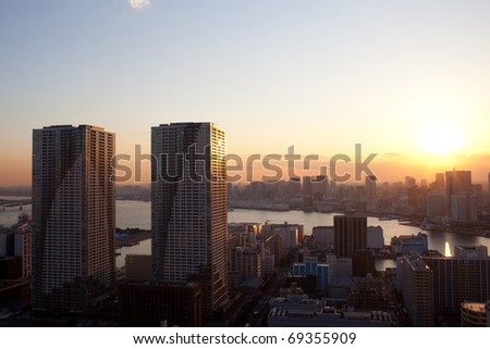 sunset view of tokyo - stock photo