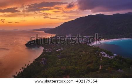 Sunset view on the Haadrin beach,Koh Phangan island,Thailand - stock photo