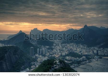 Sunset view over the beautiful Rio de Janeiro - stock photo