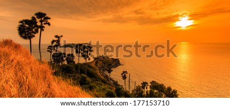 Sunset view Promthep Cape is a mountain of rock at Phuket province asia Thailand - stock photo
