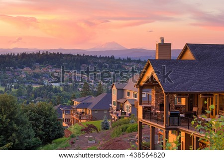 Sunset View with Mount St Helens from deck of luxury homes in Happy Valley Oregon in Clackamas County - stock photo