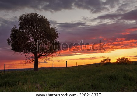 Sunset views at Greenthorpe in rural Central West NSW Australia