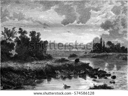 Sunset, vintage engraved illustration. Magasin Pittoresque 1846.