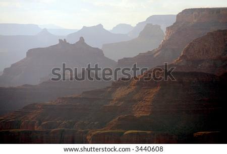 Sunset vista of Grand Canyon National Park, Arizona, USA - stock photo
