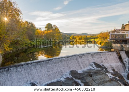 Sunset Waterfall in Quechee, Vermont  - stock photo