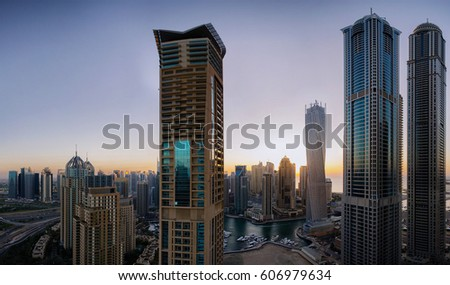 Sunset window view of Dubai skyline, UAE