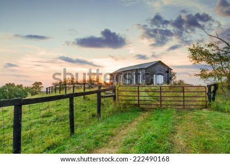 Sunset with Barn - stock photo