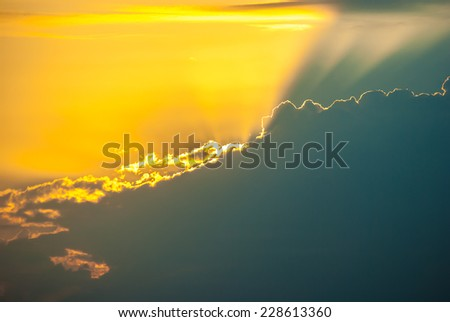 Sunset with beautiful blue sky - stock photo
