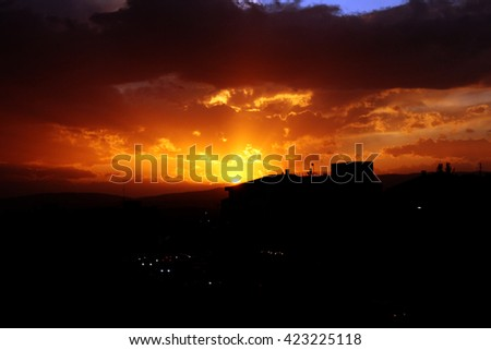 Sunset with beautiful clouds in Pristina, Kosovo