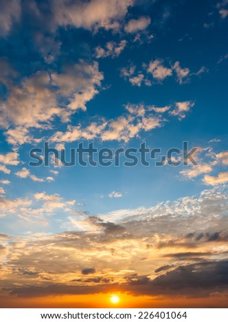 sunset with blue sky - stock photo