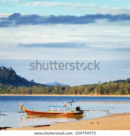 sunset with boat, Andaman Sea, Koh Libong, Thailand