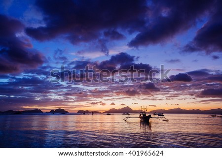 Sunset with boat. Philippines