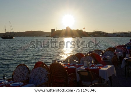 Sunset with castle in Bodrum, Turkey