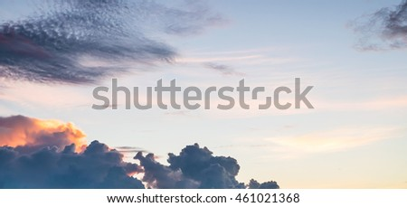 Sunset with cloud for  design background, Dramatic sky