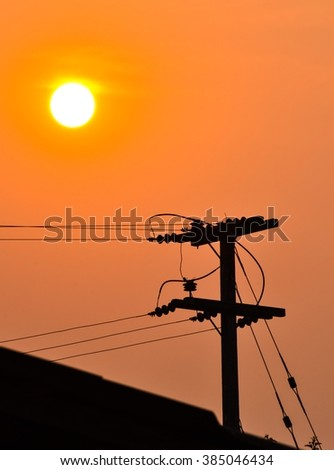 Sunset with electric post (silhouette style)