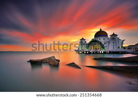 Sunset with long exposure sky at Strait Mosque, Malacca. Nature composition. - stock photo
