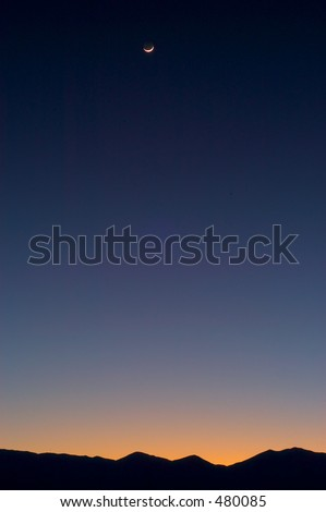 Sunset with moon at Death Valley