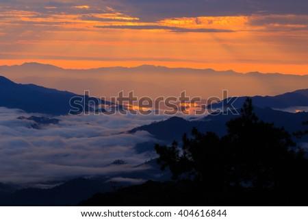 Sunset with mountain, Huai Nam Dang National Park of thailand - stock photo
