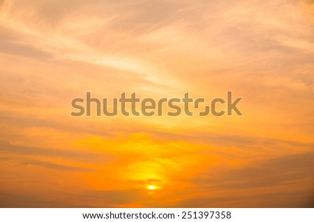 sunset with orange sky - stock photo
