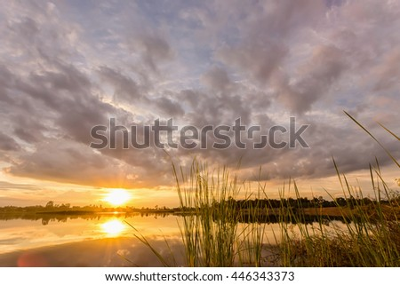 sunset with reflection on the lake