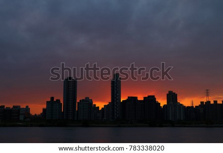 sunset with river at Taipei city in Taiwan