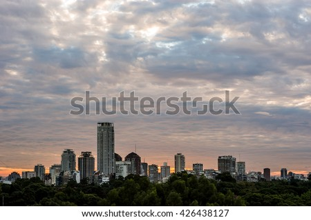 Sunset with stormy clouds above Buenos Aires, Argentina