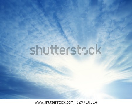 sunset with sun rays - stock photo