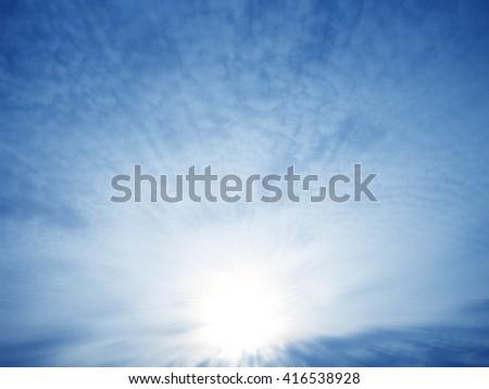 sunset with sun rays - stock photo