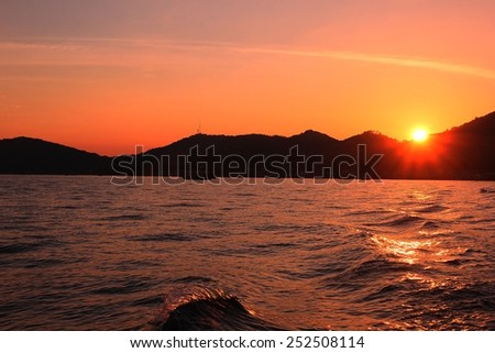 sunset with the sea view Thailand - stock photo