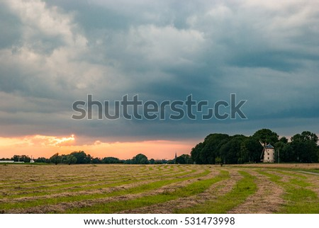 Sunset with windmill in Dresden, Germany